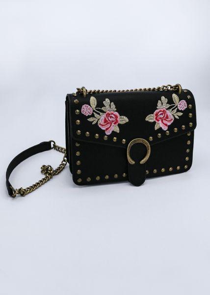 Umhängetasche mit aufgestickten Rosen, schwarz