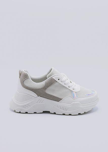 Sneaker mit Plateau, weiß/silber