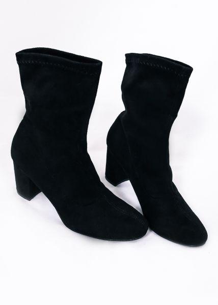 Sockboots in Velours, schwarz
