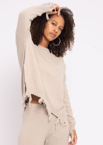 Destroyed Pullover, beige