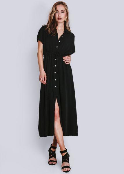 Langes Hemdblusenkleid, schwarz