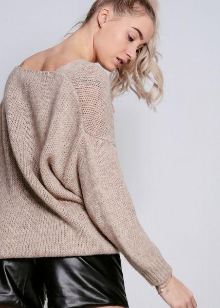 Oversize Pullover mit V-Ausschnitt, taupe