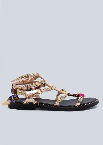 Sandalen mit Nieten, roségold