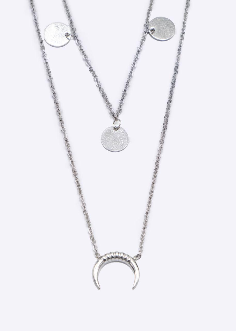 Kombinierte Halskette mit Mond und Plättchen, silber
