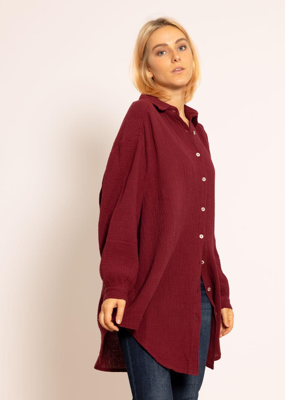 Ultra oversize Blusenhemd, weinrot