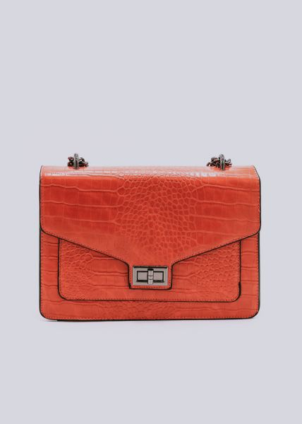 Überschlagtasche in Kroko-Optik, orange
