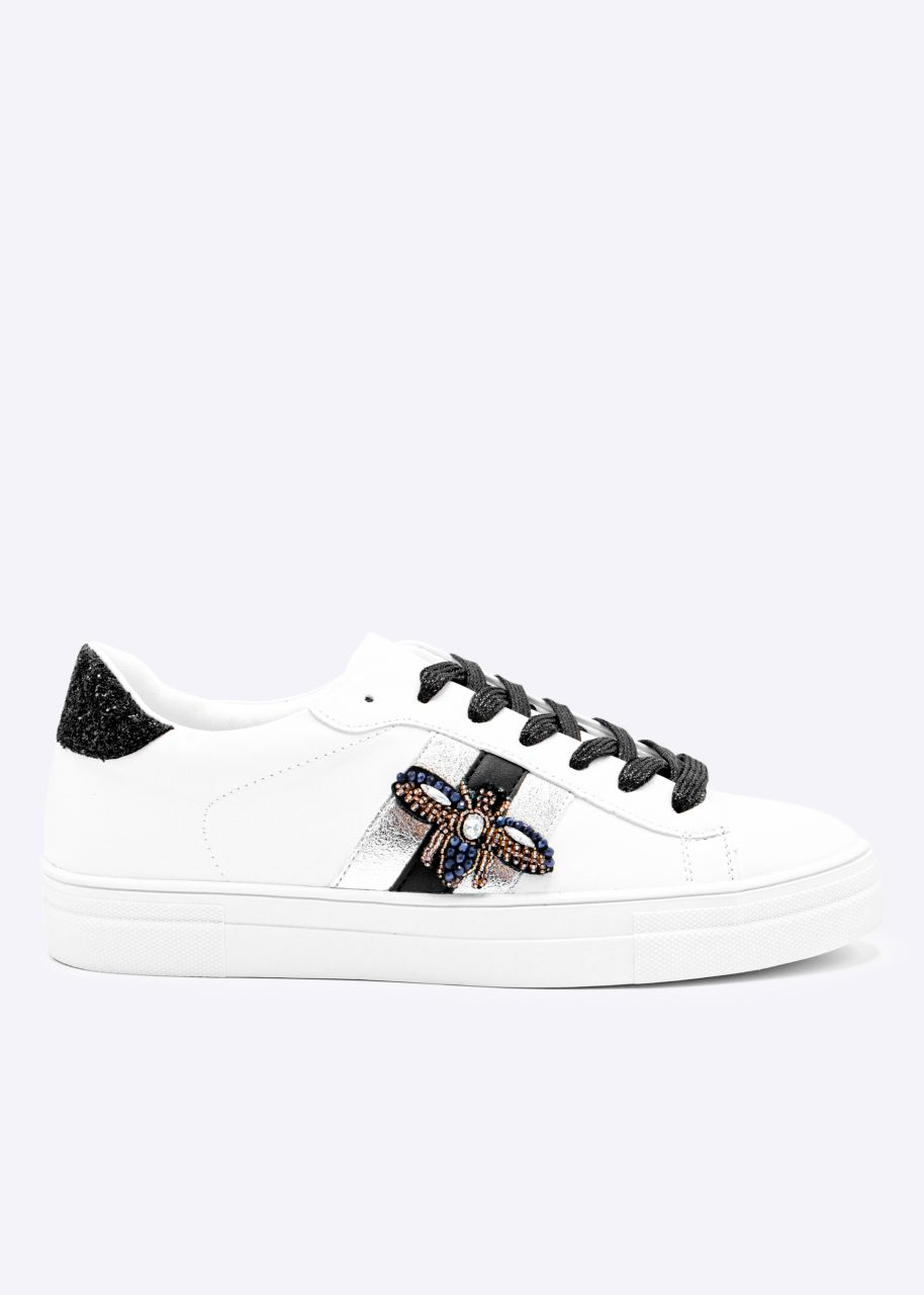 Plateau Sneaker mit funkelnder Applikation, weiß