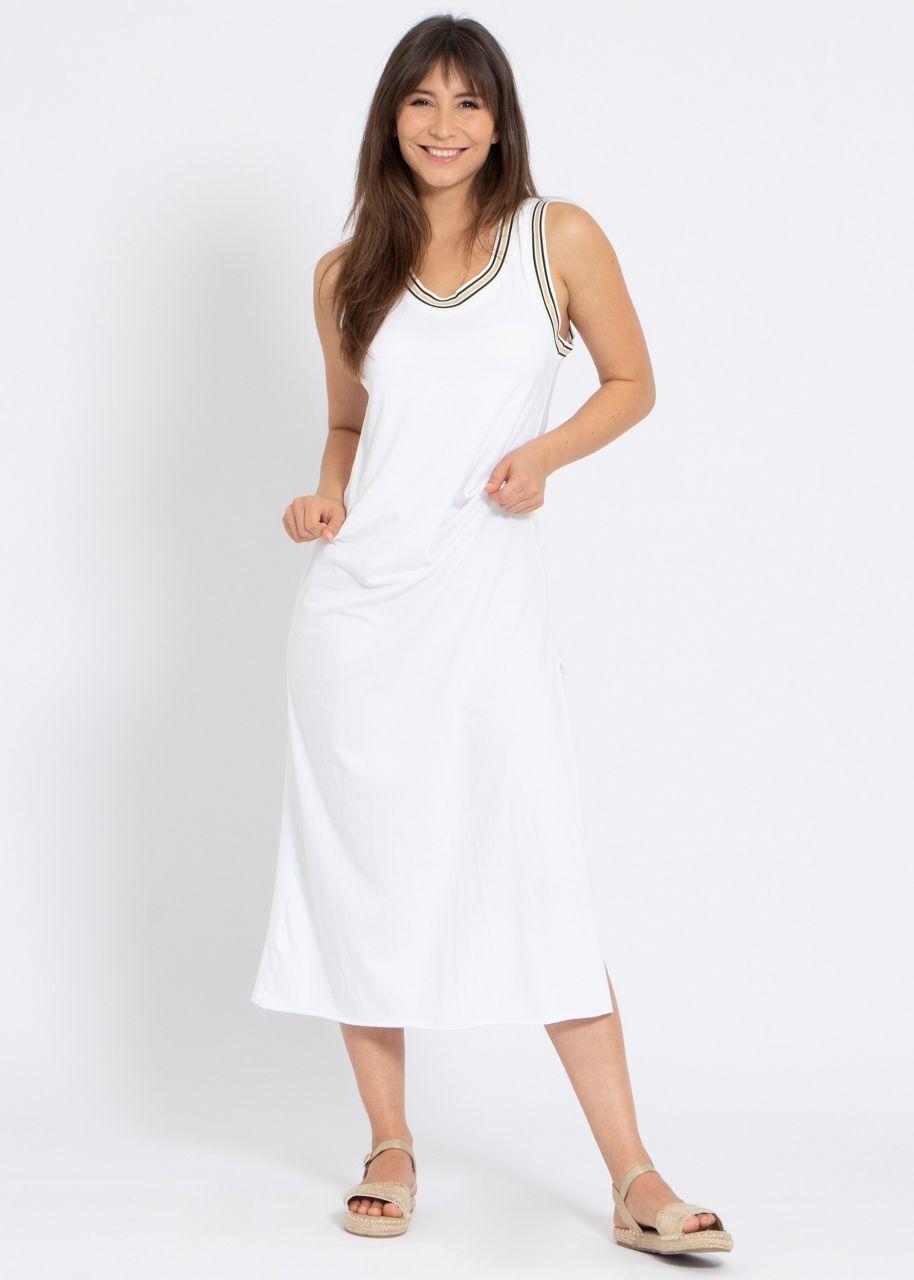 Maxi-Jerseykleid mit hohem Schlitz, weiß