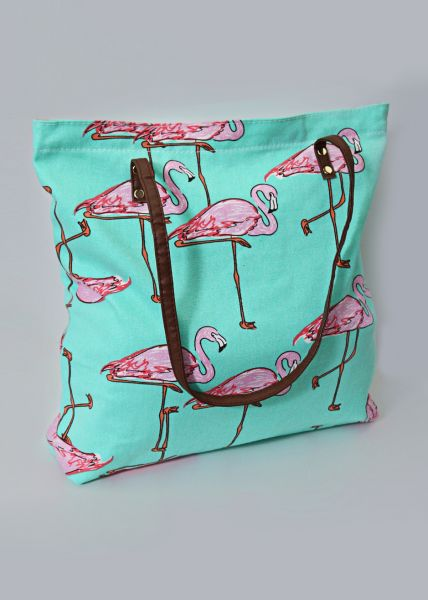 Flamingo Shopper, mintgrün