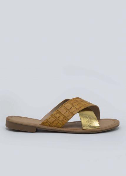 Slider in metallic und Kroko-Optik, camel/gold