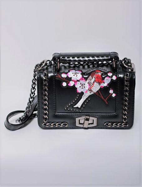 Mini-Bag mit Stickerei, schwarz