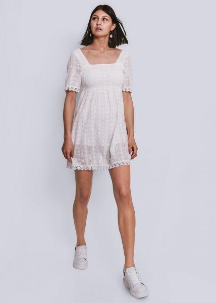 Kleid mit gesmoktem Oberteil, weiß