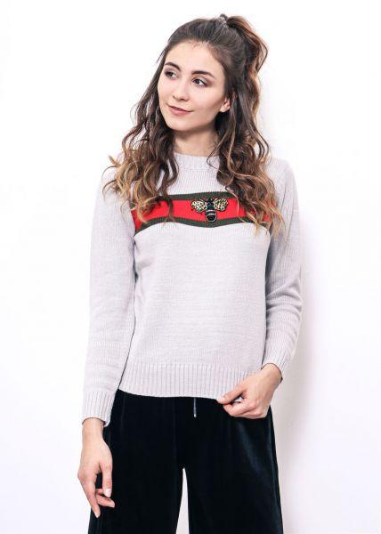 Pullover mit Querstreifen und Biene, grau
