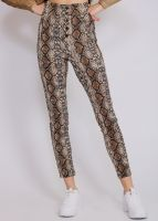 Highwaist Leggings in Snake-Print, braun