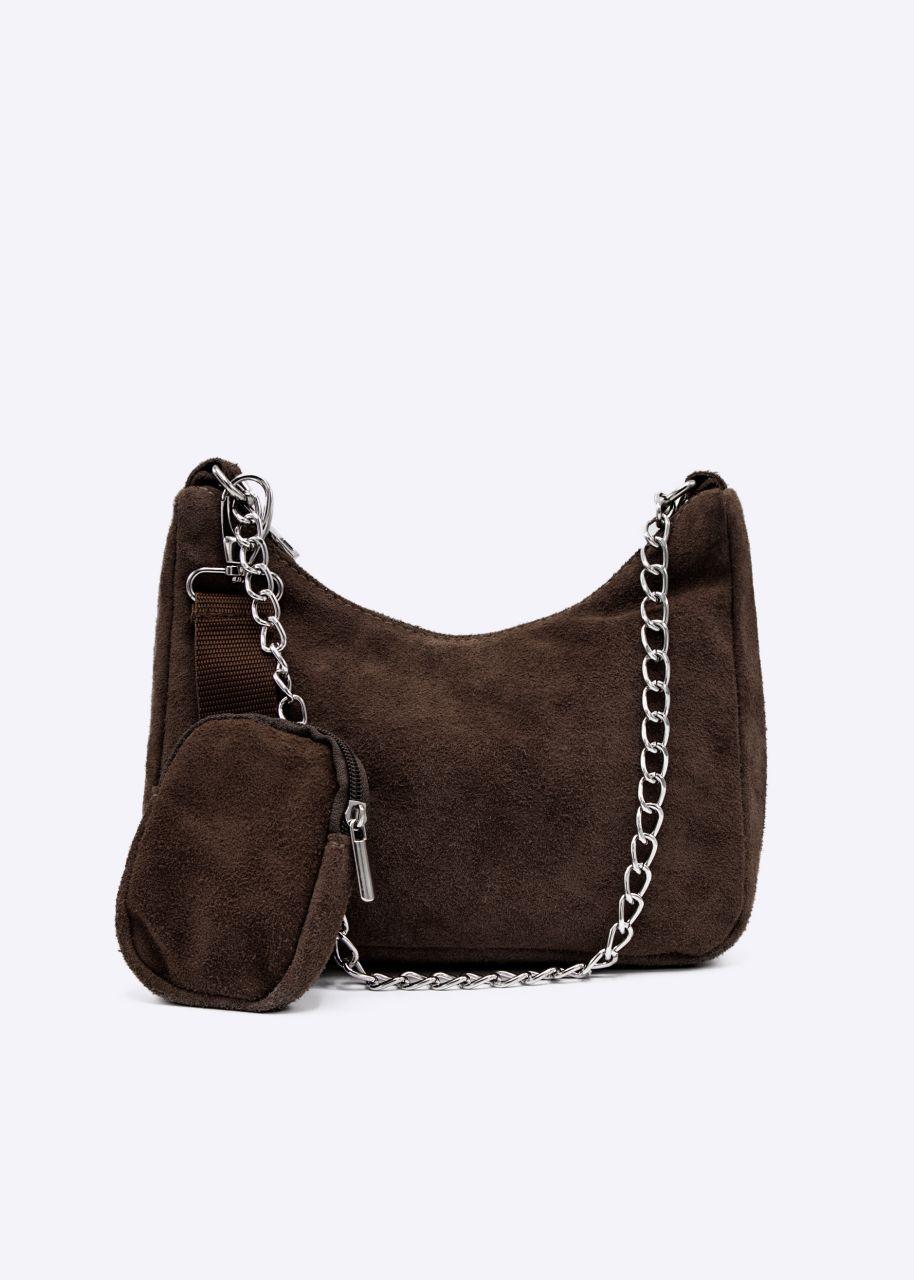 Velours-Leder-Tasche, braun