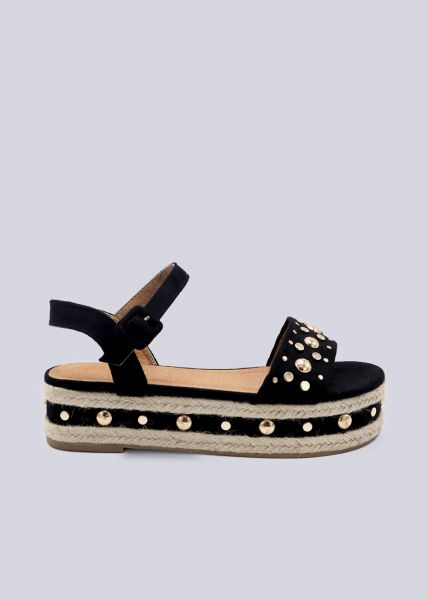 Plateau-Sandalen mit goldenen Nieten, schwarz