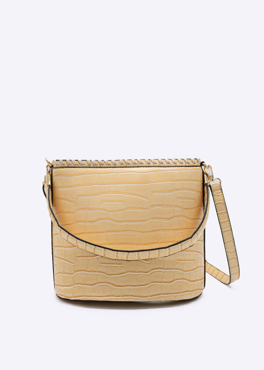 Henkeltasche in Kroko-Optik, beige