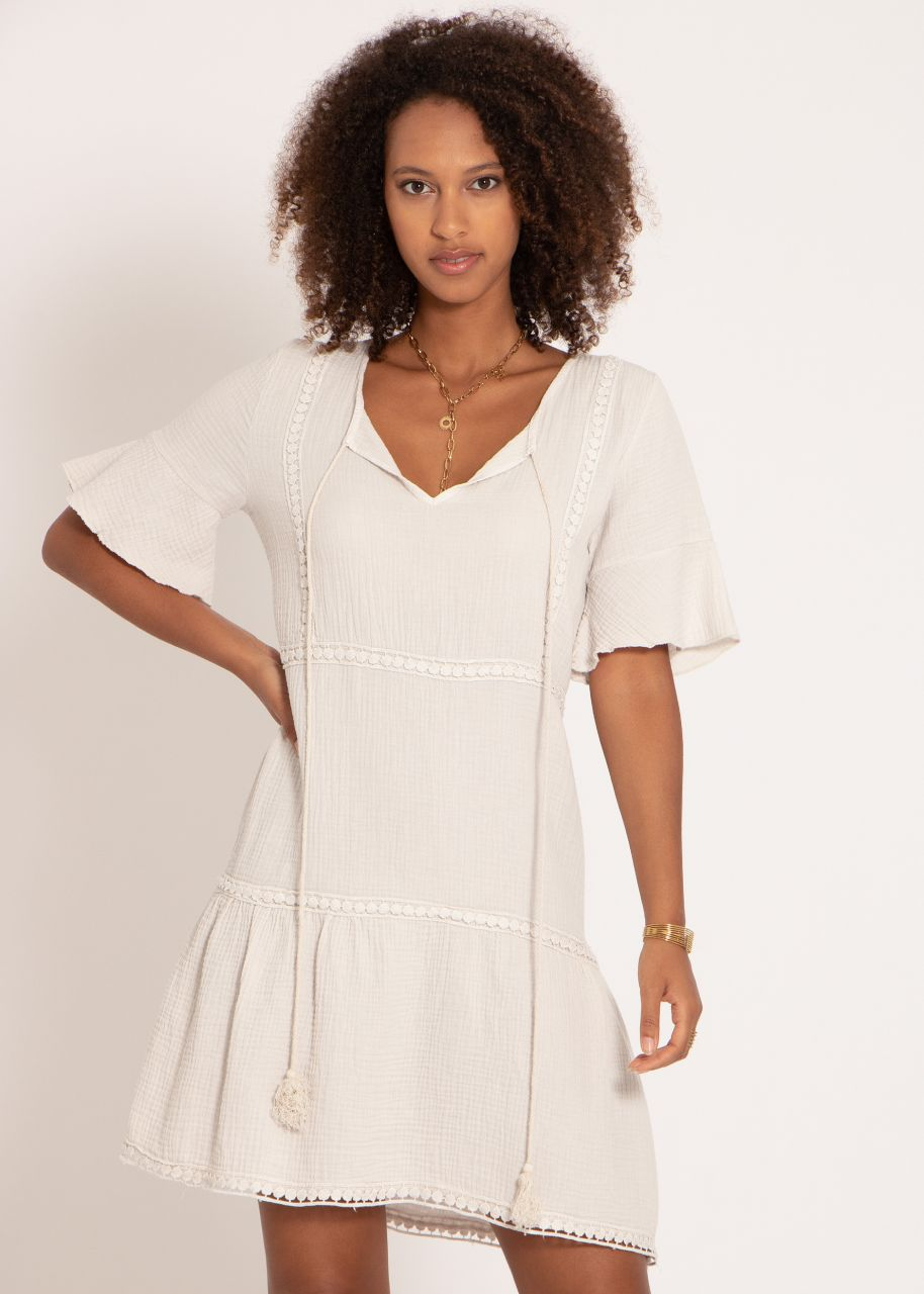 Musselin Kleid mit Spitzenborten, hellbeige