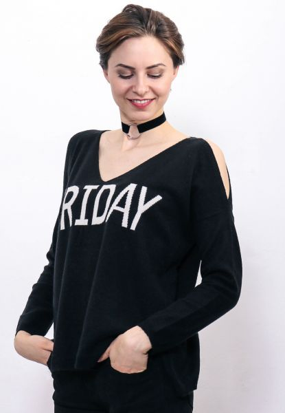 """Friday"" Pullover mit Cut-Outs, schwarz"