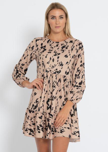 Hängerchenkleid mit Print, beige/schwarz