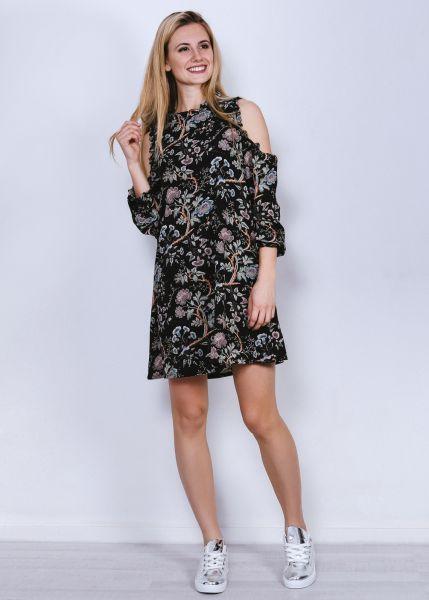 Hängerchenkleid mit Print und Cut-Outs, schwarz