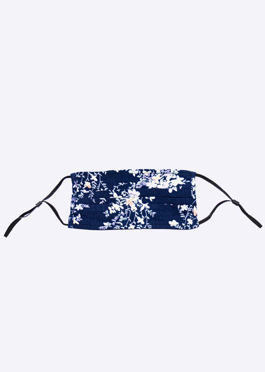 Stoffmaske mit Blumenprint, blau