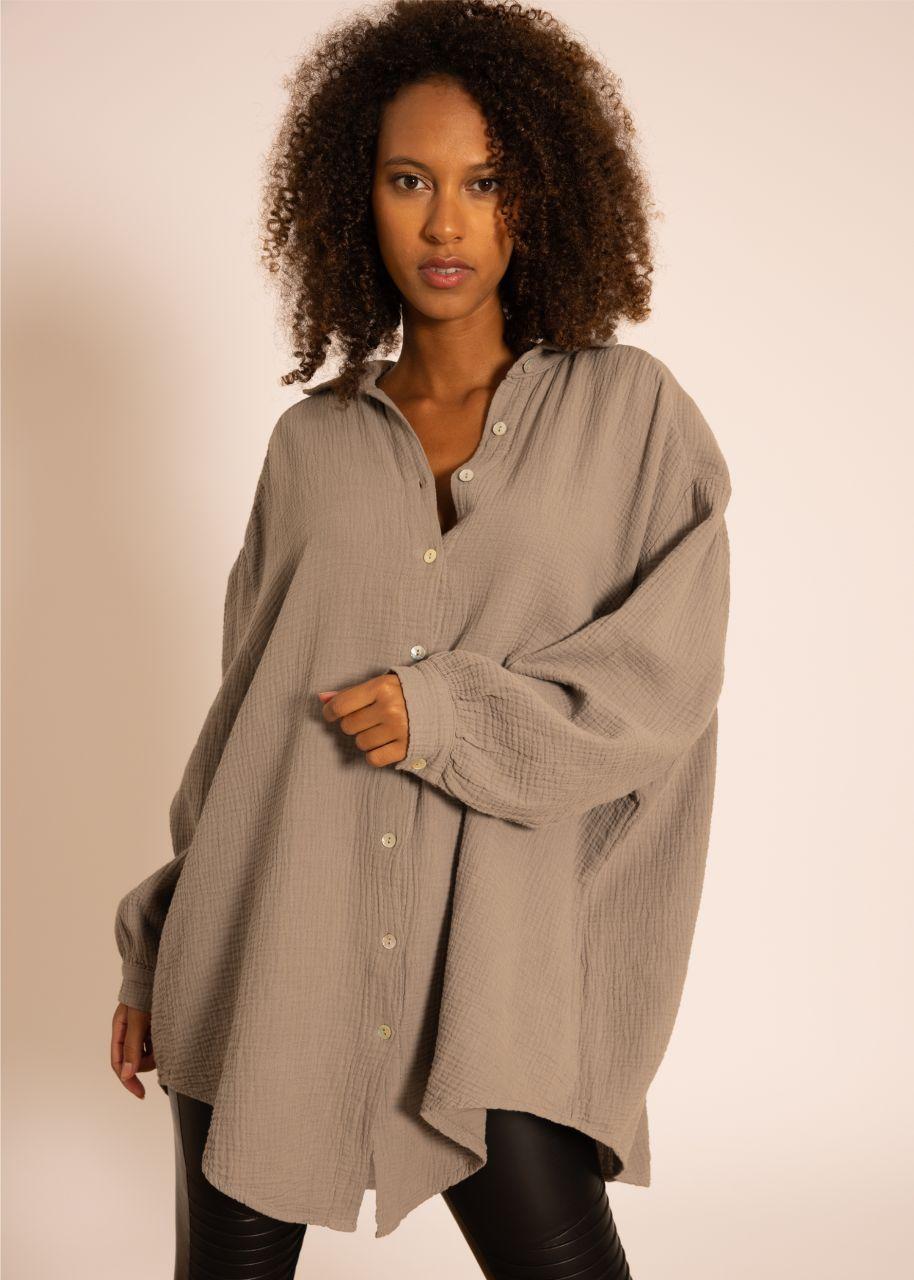Ultra oversize Blusenhemd, taupe