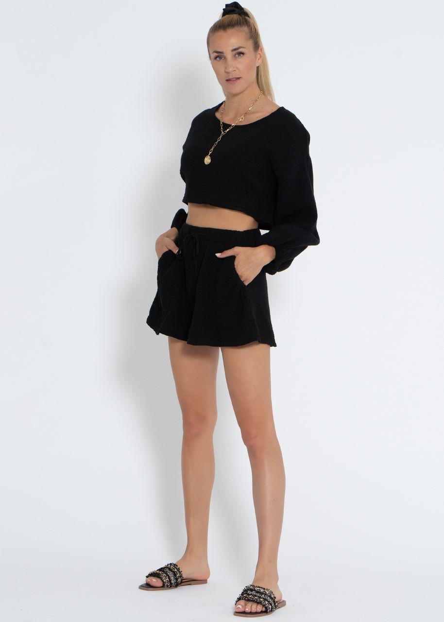 Ausgestellte Musselin Shorts, schwarz