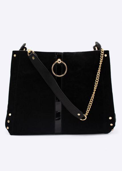 Shopper mit gold Ring, schwarz