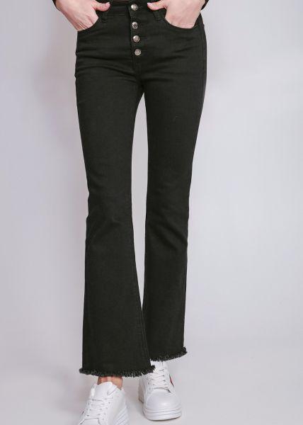 Flare-Jeans mit Knopfverschluss, schwarz