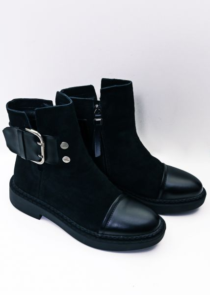 Leder-Boots mit Schnalle, schwarz