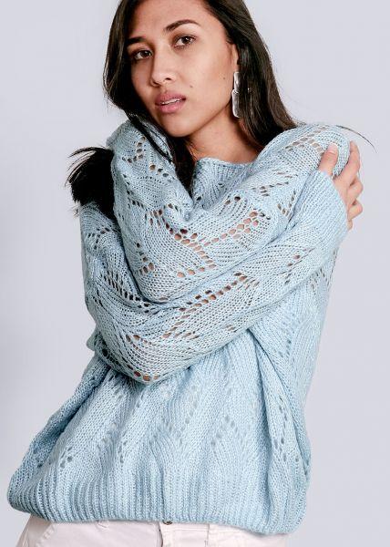 Luftig gestricker Pullover, hellblau