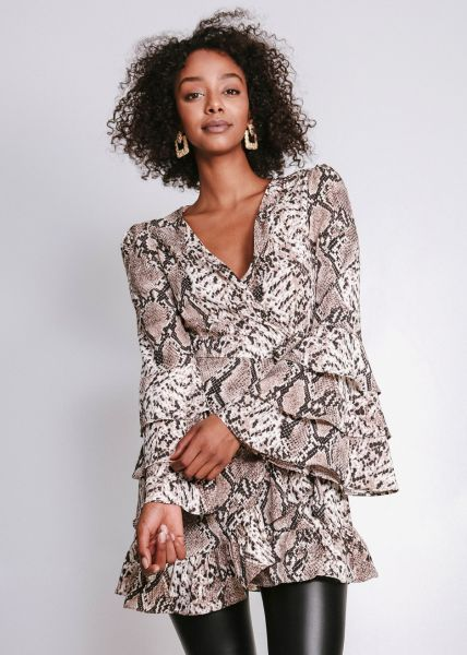 Tunika-Wickelbluse in Snakeprint, braun