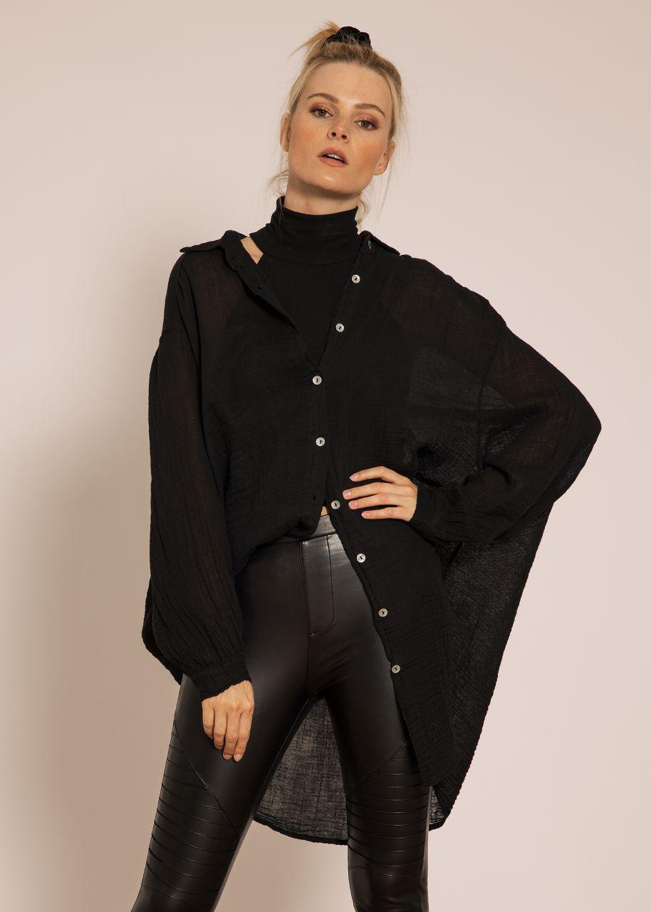 Transparentes, ultra oversize Blusenhemd, schwarz