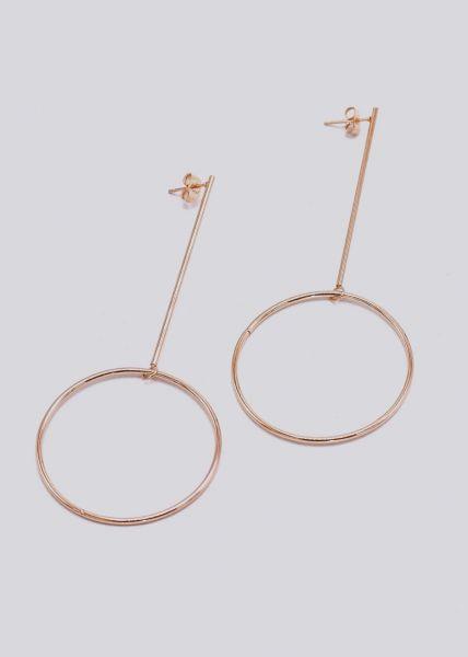 Filligrane Ohrringe mit Kreisen, roségold