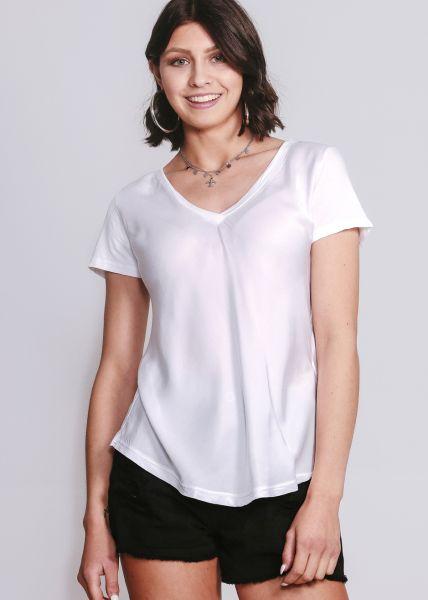 T-Shirt aus Seide, weiß